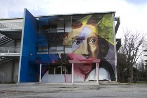 Ugo Foscolo_ pittura al quarzo e spray su parete, Cagliari – copyright Manu Invisible