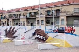 Quarta dimensione_ tecnica mista su muro, Milano – copyright Manu Invisible