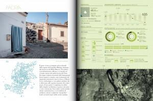 Una scheda tipo dei 31 comuni. Foto Stefano Ferrando; infografica Eloe, Immagine satellitare progetto Curatorias di Roberto Sanna