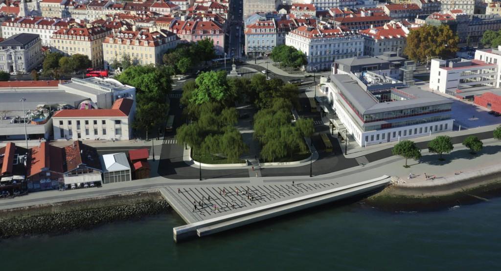 Cais do Sodrè in un fotomontaggio di progetto. Fonte: Camara Municipal Lisboa