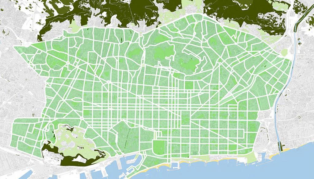 Barcellona 2013-2018: piano indicativo della mobilità urbana principale con la realizzazione delle superilles (fonte: http://ajuntament.barcelona.cat)