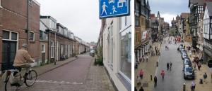 Sulla sinistra: Esempio di Woonerf nelle strade di Delft (fonte: Herman Wouters, http://www.nytimes.com)  Sulla destra: Esempio di applicazione del modello Woonerf nelle strade di Chester, in Inghilterra (fonte: https://it.pinterest.com)