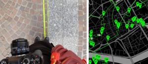 Sulla sinistra: Tratto della linea verde sul manto stradale di Nantes (fonte: http://www.eamimi.fr)  Sulla destra: Parte de percorso della linea verde all'interno della città (fonte: https://www.levoyageanantes.fr)