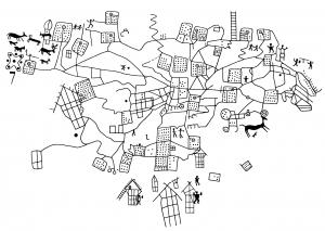 Mappa di Bedolina, Val Camonica, Italia. Riproduzione delle incisioni ora custodite nel Parco Archeologico Comunale di Seradina-Bedolina.  Rielaborazione propria a partire da Careri, 2006